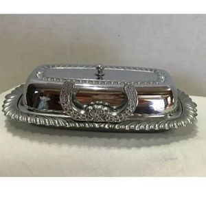 Silver Plated Butter Dish with Knife Holder